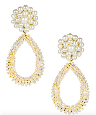 pearl bead earrings that are an oval and 2 inches long