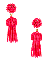 2 inch pink beaded tassel earrings