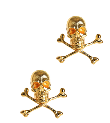 Ladies Gold Skull Stud Earrings.