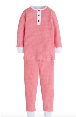 Little English red and white 2 piece cotton pajama set for toddler boy