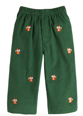 Little English pull on green corduroys with embroidered foxes for toddler boy