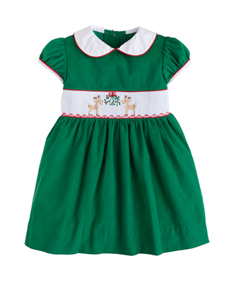 Little English green corduroy smocked dress for toddler girls