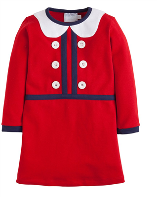 Little English long sleeve red knit dress for toddler girls