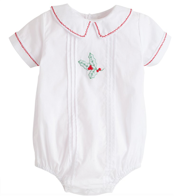 Little English Baby White Bubble with embroidered Holly on the front