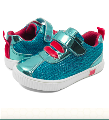 toddler aqua metallic sneakers