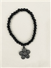8 inch black beaded stretch bracelet with a crystal flower charm