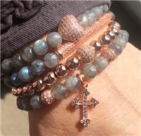 a set of 4 labradorite stretch bracelets with rose gold