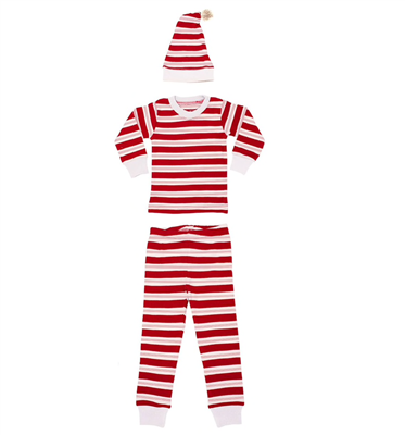 L'oved Baby Organic Long Sleeve Pajamas with matching cap in peppermint stripe