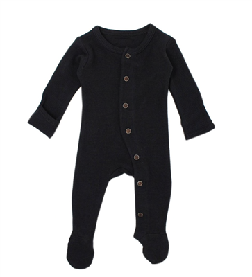 L'oved Baby Organic Thermal Footed Overall in Black