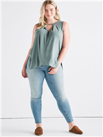 olive sand washed modal tank top