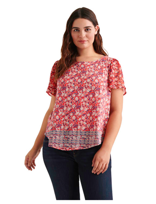 women's plus size red print top