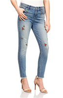 Ladies 5 pocket Blue mid rise skinny jeans with embroidered flowers and frayed hem