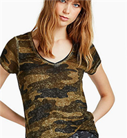 Ladies short sleeve, v-neck camouflage tee