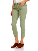 Ladies 5 pocket green jeans with mid rise and raw hem