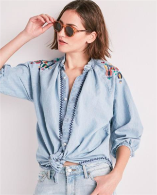 Ladies long sleeve denim peasant shirt with embroidery