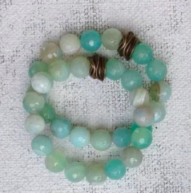 women's faceted seafoam Stretch Bracelet