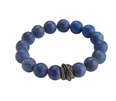 Ladies faceted matte lapis Stretch Bracelet