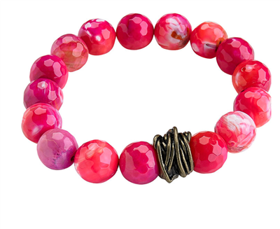 Ladies faceted pink agate Stretch Bracelet