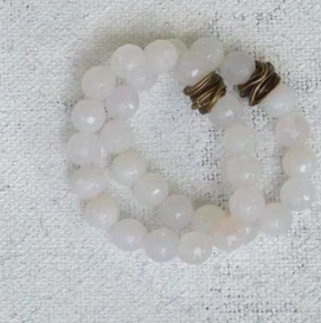 faceted white quartz Stretch Bracelet