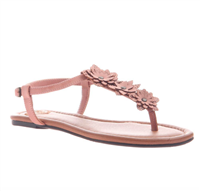 salmon colored ladies sandal with adjustable start and floral embellishment