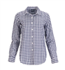 women's 100% cotton navy and white gingham top with button front and long sleeves