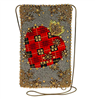 plaid heart beaded cross-body phone bag from Mary Frances