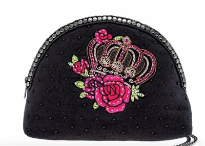 Ladies black fabric crossbody bag with beaded crown on the front from Mary Frances