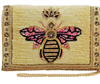 Beaded handbag with a queen bee on the front with a gold chain strap