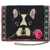 black Beaded handbag with a french bulldog on the front and a chain strap