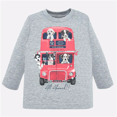 Baby grey long sleeve t-shirt with dogs on it