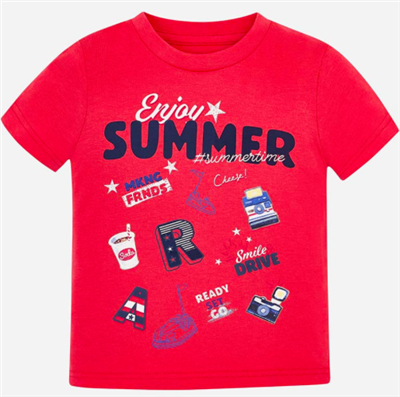 red toddler short sleeve summer t-shirt