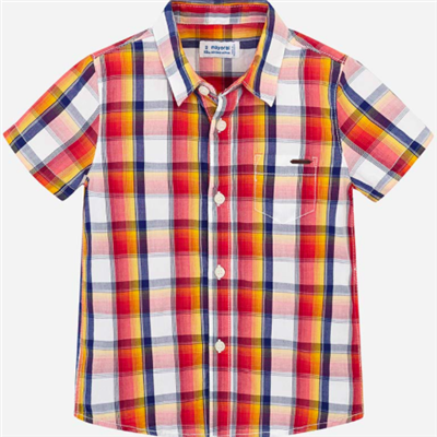 orange plaid toddler short sleeve shirt