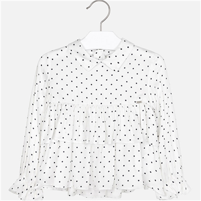 navy and white polka dot long sleeve toddler blouse