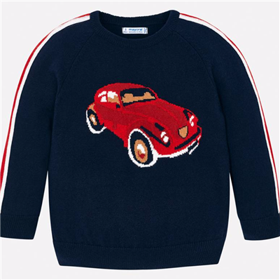 navy toddler sweater with car on the front