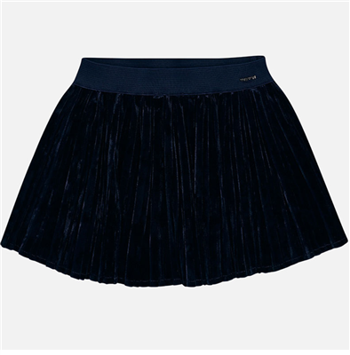 navy pleated velvet toddler skirt