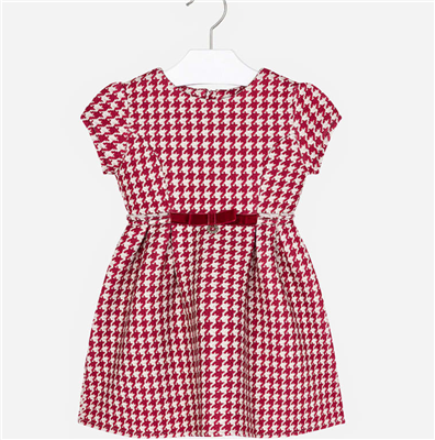 red and white short sleeve checked toddler dress