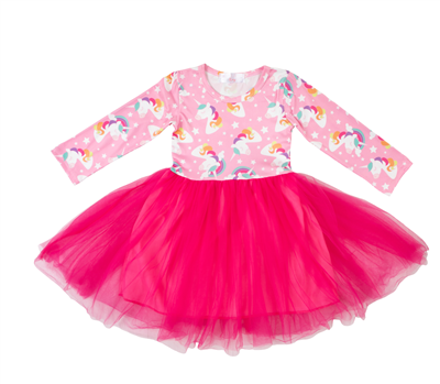 toddler girls pink long sleeve dress with unicorns and a hot pink tutu skirt