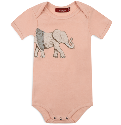 Baby organic cotton elephant appliqué onesie.