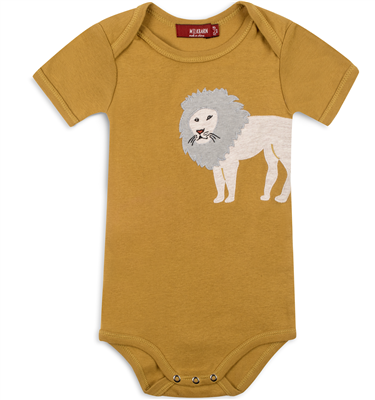 Baby organic cotton lion appliqué onesie.