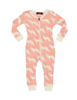 baby organic cotton sleeper with zipper front and foxes all over it