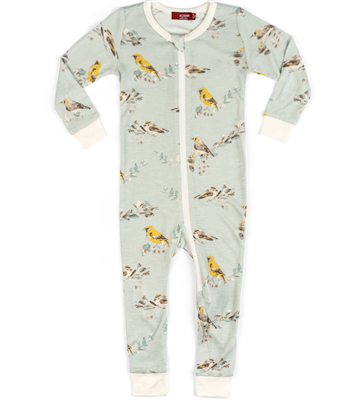 "baby Bamboo  zipper pajamas in ""blue birds"" print"