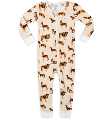 "Baby organic cotton zipper pajamas in ""natural dogs"" print"
