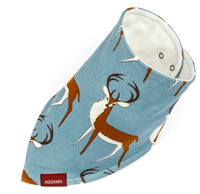 100% cotton kerchief bib with snaps on the back of the neck in a buck print