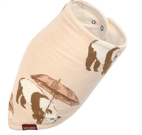 100% rayon from bamboo kerchief bib with snaps on the back of the neck in a buck print