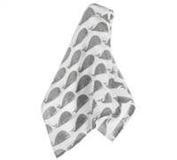 Off White Organic Muslin Swaddle with Grey Whale