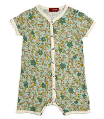 Bamboo baby Shortall with snap front in floral print