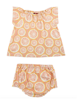 baby cotton Dress & Bloomer Set with grapefruits all over it