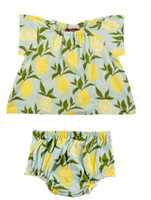 baby cotton Dress & Bloomer Set with lemons all over it