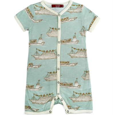 Bamboo baby Shortall with snap front in a ships print