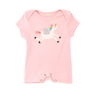 baby pink onesie with a flying unicorn on the front